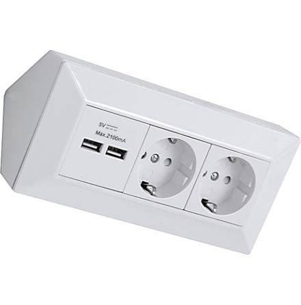 Hörnbox 2-vägsuttag + USB-uttag Vit/Silver