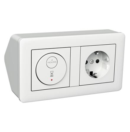 Exxact Hörnbox med elektronisk 2-pol timer och 1-vägsuttag