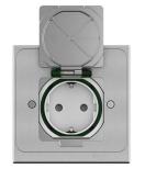 Golvuttag XS rektangulär IP44 metall jordat uttag