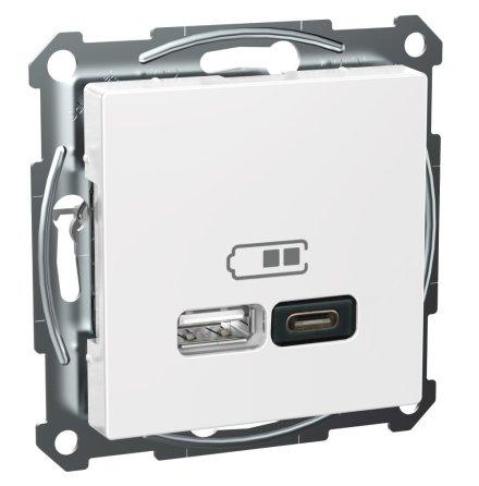 Schneider Exxact USB Typ A+C Laddstation Vit