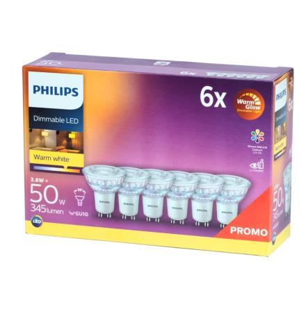 Philips LED GU10 3,8W (50W) 2700K 345lm 6-pack