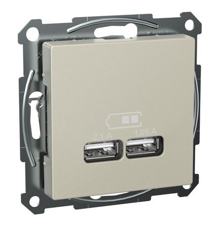 Schneider Exxact USB-uttag Metallic