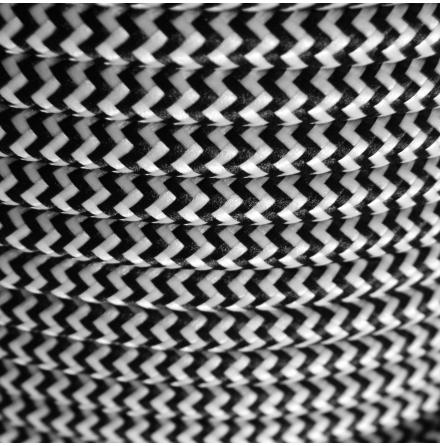 Textilkabel Svartvit/ Sicksack 3x0,75