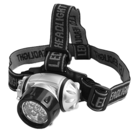 Pannlampa LED 7, 25lm, 10m räckvidd, 3xAAA ingår ej.